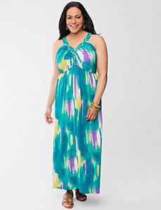 Printed maxi dress with braided straps