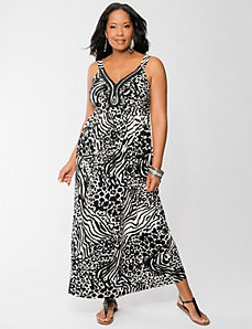 Mixed animal embellished maxi dress