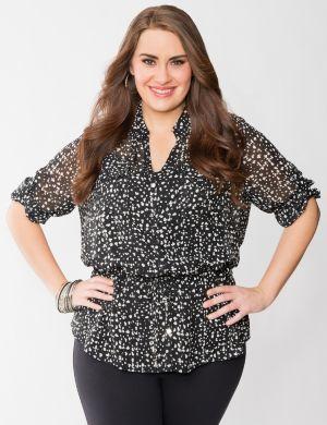 Printed peplum blouse