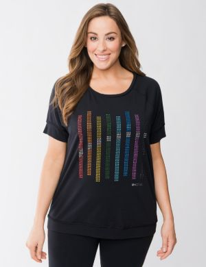 Rainbow studded active tee