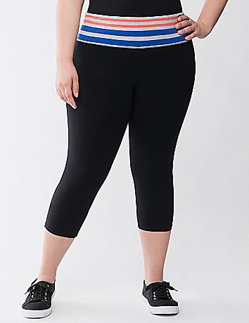 Striped waist capri legging