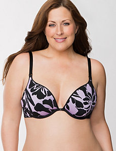 Floral and solid reversible plunge bra by LANE BRYANT