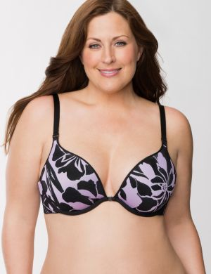 Floral and solid reversible plunge bra