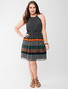 Chiffon tribal print dress