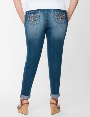Embroidered skinny ankle jean