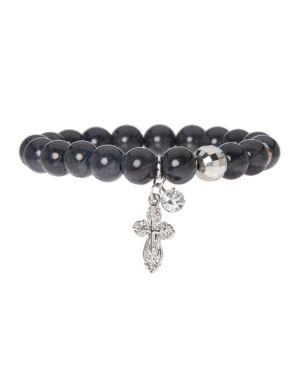 Semi precious bracelet with cross charm by Lane Bryant