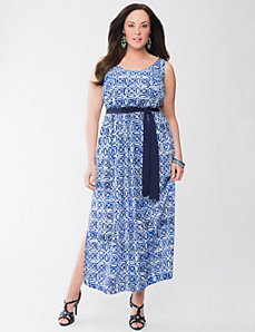 Lane Collection printed tie-back maxi dress