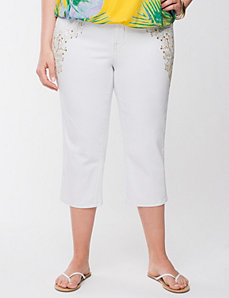 Lane Collection embellished white capri by LANE BRYANT
