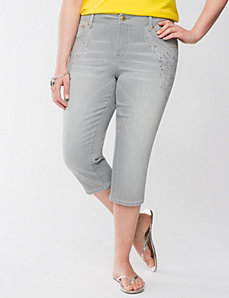 Lane Collection gray embellished capri by LANE BRYANT