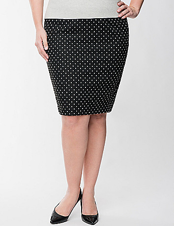 Polka dot ponte knit skirt