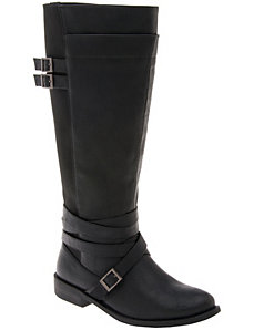 Stretch back buckled boot by LANE BRYANT