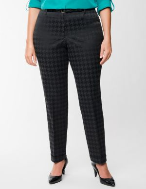 Houndstooth belted ankle pant