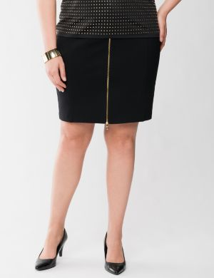 Lane Collection zip front ponte skirt