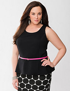 Lane Collection belted ponte peplum top