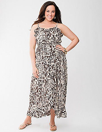 Lane Collection leopard ruffled maxi dress