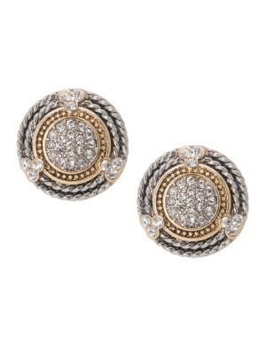 Braid & stone button earrings by Lane Bryant