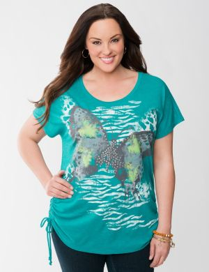 Shirred butterfly tee