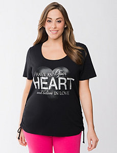 Heart shirred tee