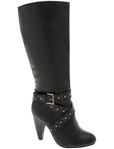 Grommet strap high heel boot