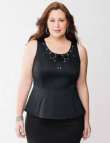 Embellished peplum top