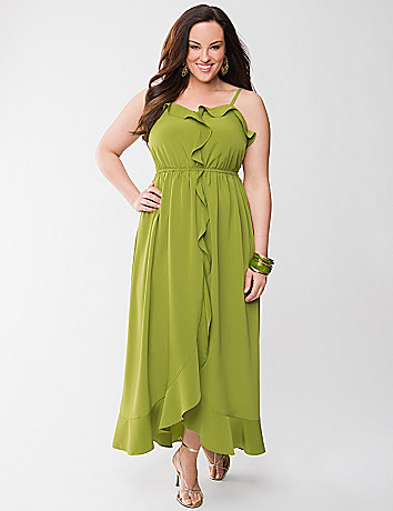 Lane Collection satin ruffled maxi dress