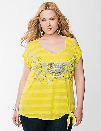 Studded heart tied hem tee