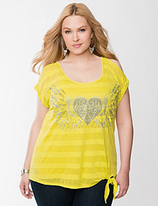 Studded heart tied hem tee by LANE BRYANT