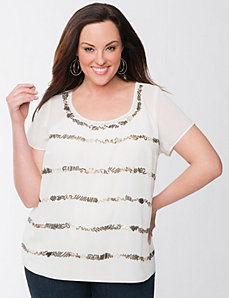 Lane Collection sequin tee blouse