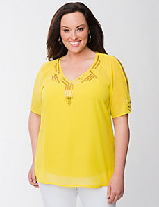 Lane Collection beaded cold shoulder top