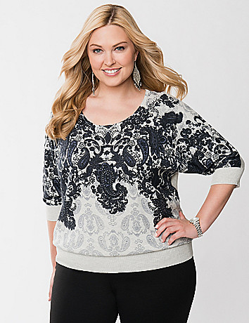 Embellished paisley sweater