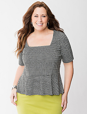Houndstooth peplum top