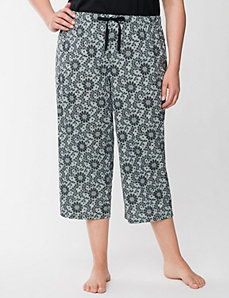 Lace print knit sleep crop by LANE BRYANT