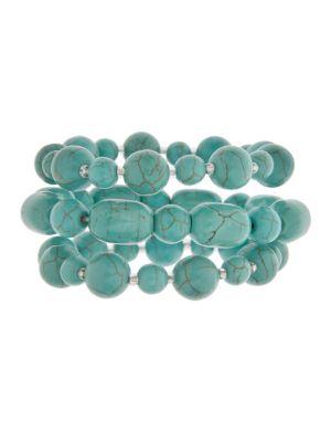 Three row turquoise stretch bracelet by Lane Bryant