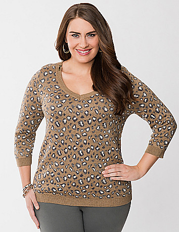 Animal print zippered sweater