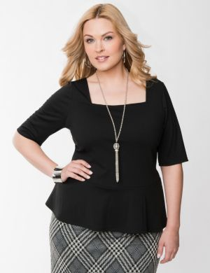 Square neck peplum top