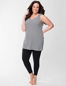 Striped tank & legging sleep set by LANE BRYANT