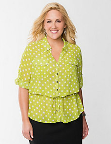 Polka dot peplum blouse by LANE BRYANT