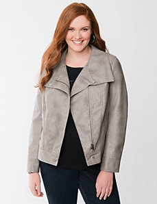 Faux leather bomber jacket with fur by LANE BRYANT