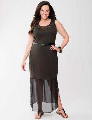 Lane Collection chiffon hem maxi dress