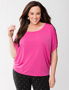 Lane Collection button shoulder wedge tee by LANE BRYANT
