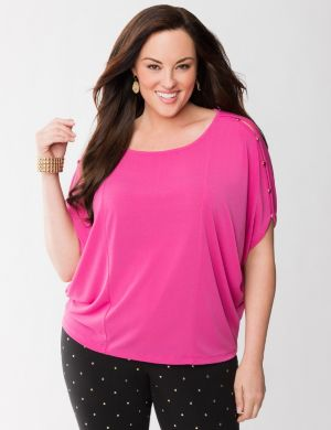 Lane Collection button shoulder wedge tee