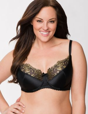 Gold embroidered full coverage bra