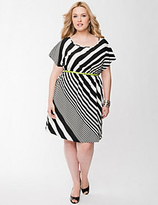 Striped dress with belt by LANE BRYANT
