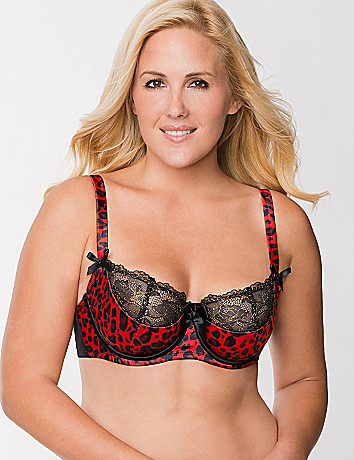 Embroidered animal French balconette bra