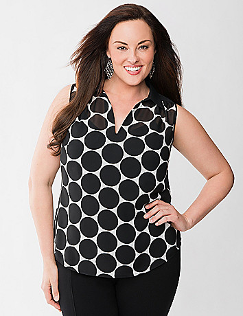 Lane Collection polka dot sleeveless blouse