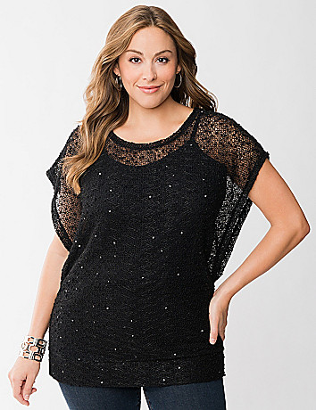Open knit top with sequins