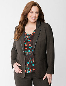Trimmed glen plaid suit jacket by LANE BRYANT