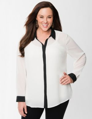 Lane Collection colorblock chiffon shirt