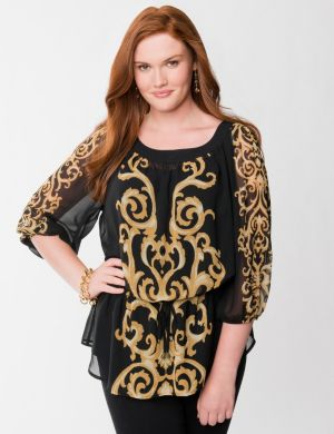 Scroll print peasant tunic