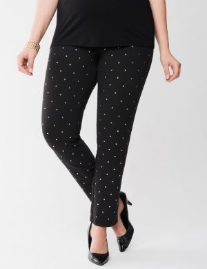 Lane Collection gold studded ponte jegging